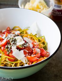 {Raw} Zoodles With Capers and Tomatoes