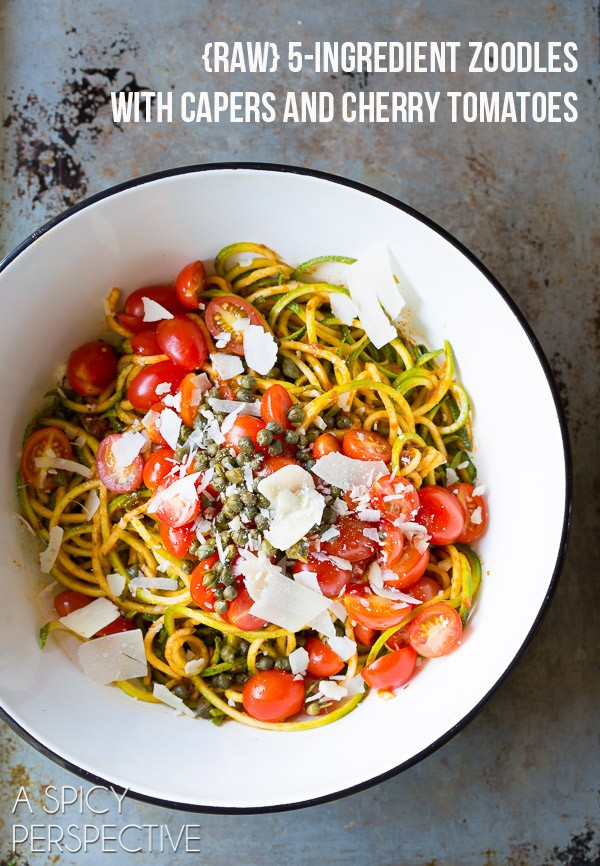 RAW 5-Ingredient Zoodles with Capers and Cherry Tomatoes on ASpicyPerspective.com #raw #healthy