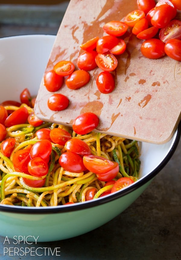 Must-Make 5-Ingredient Zoodles with Capers and Cherry Tomatoes on ASpicyPerspective.com #raw #healthy