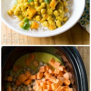 Simple Sweet Potato Chickpea Curry in the Slow Cooker! #slowcooker #crockpot