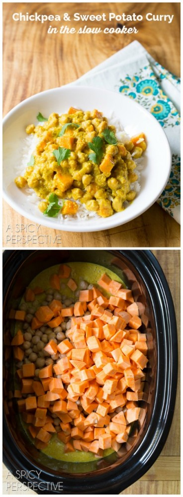 Chickpea curry in the slow cooker a spicy perspective simple sweet potato chickpeas curry in the slow cooker slowcooker crockpot forumfinder Images