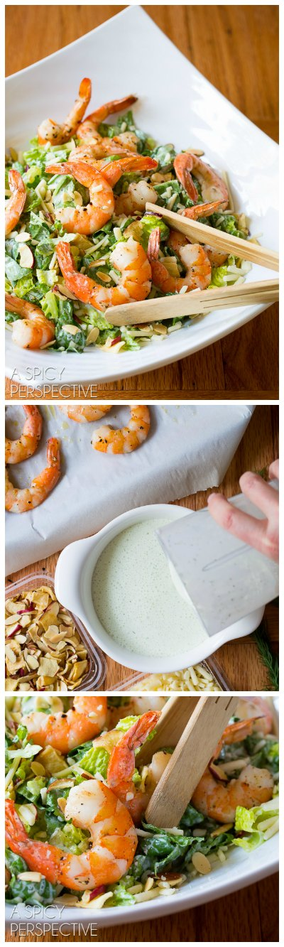 Fresh and Simple Roasted Shrimp Salad with Herb Buttermilk Dressing #healthy #shrimp
