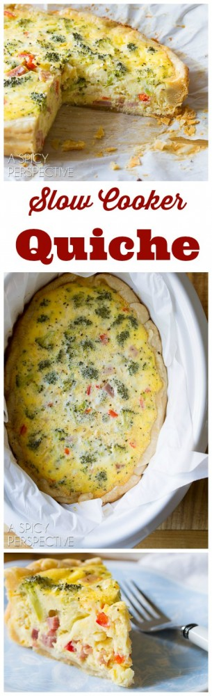 Easy Slow Cooker Quiche with Ham, Cheese, and Veggies! #slowcooker #crockpot