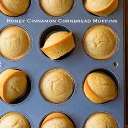 Aromatic Honey Cinnamon Cornbread Muffins on ASpicyPerspective.com #cornbread #bread