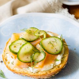 Quick Pickles Smoked Trout Herbed Cream Cheese Bagels - AWESOME! #brunch #spring