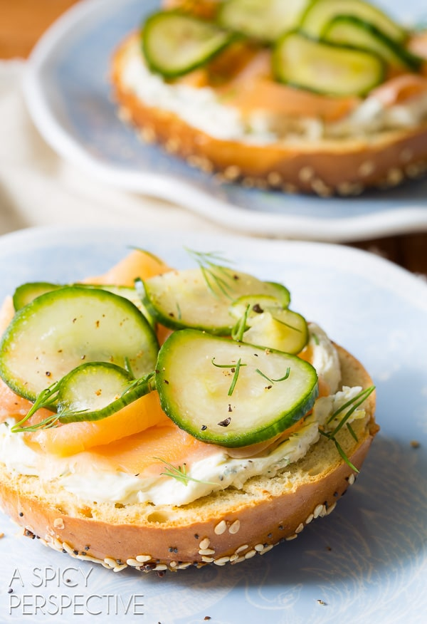 Homemade Quick Pickles Smoked Trout Herbed Cream Cheese Bagels - AWESOME! #brunch #spring