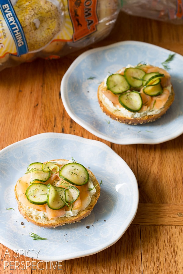 Must-Make Quick Pickles Smoked Trout Herbed Cream Cheese Bagels #brunch #spring