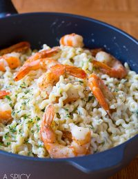 The BEST Roasted Shrimp Pasta with Lemon Cream Sauce on ASpicyPerspective.com #pasta #skinny #shrimp