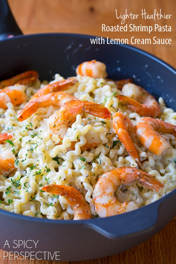 Lighter Healthier Roasted Shrimp Pasta with Lemon Cream Sauce on ASpicyPerspective.com #pasta #skinny #shrimp