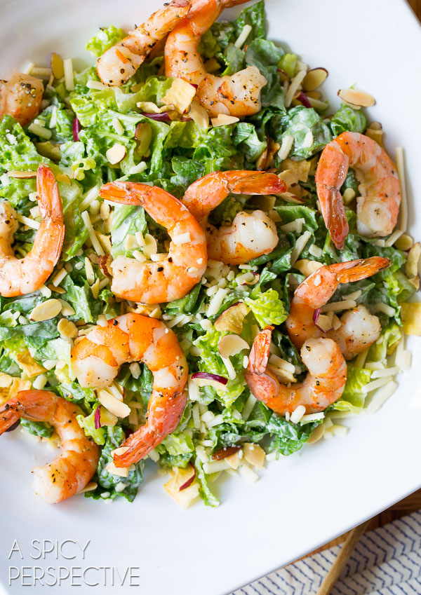 Fast and Fabulous Roasted Shrimp Salad with Herb Buttermilk Dressing #healthy #shrimp