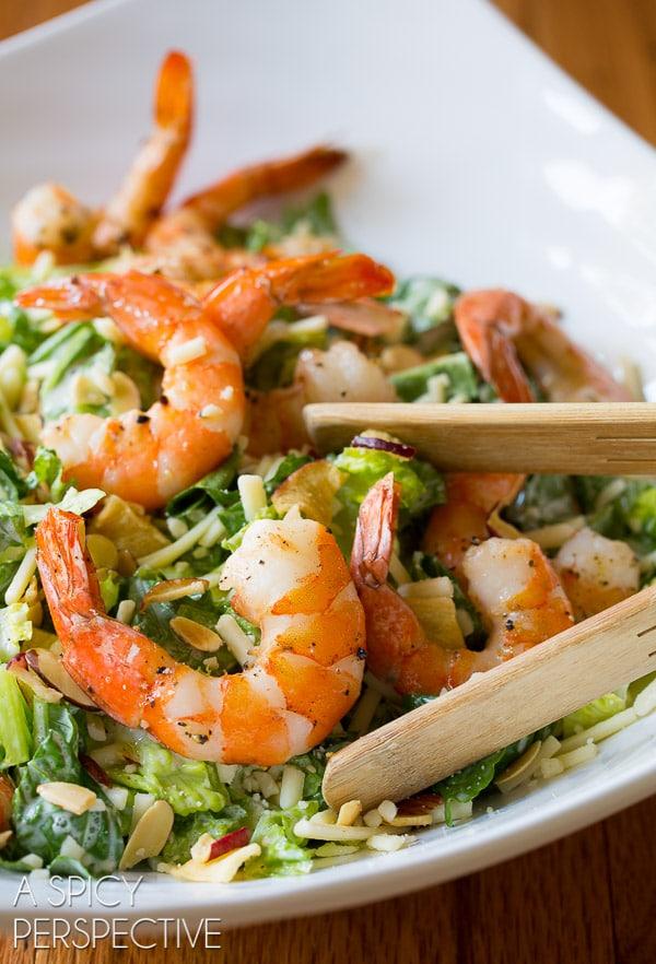 The BEST Roasted Shrimp Salad with Herb Buttermilk Dressing #healthy #shrimp