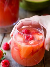 Rose Sangria Recipe on ASpicyPerspective.com #sangria #cocktails #mothersday