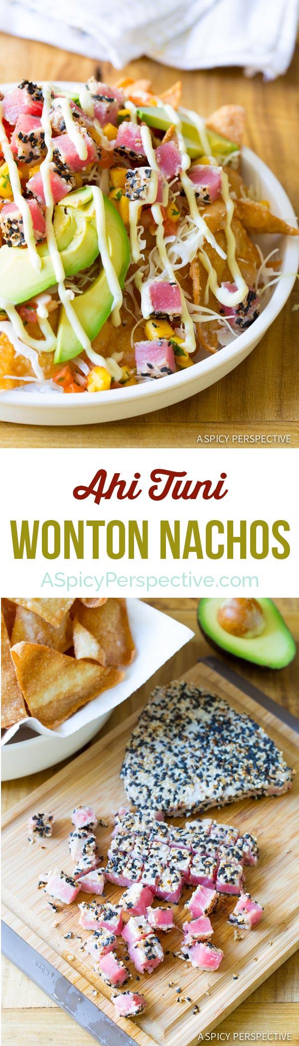 Amazing and Easy to Make Ahi Wonton Nachos with Mango Salsa and Wasabi Mayo! #nachos