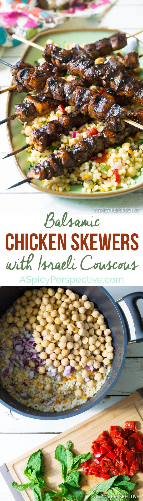 Easy Balsamic Chicken Skewers with Israeli Couscous! #dinner #farmtogrill