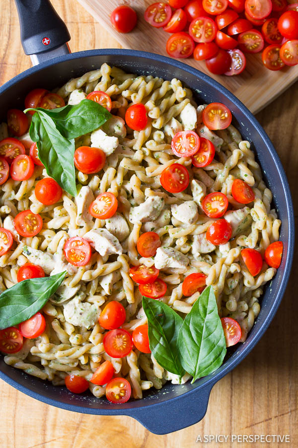 One Pot Chicken Pasta with Creamy Basil Sauce {A Spicy Perspective}