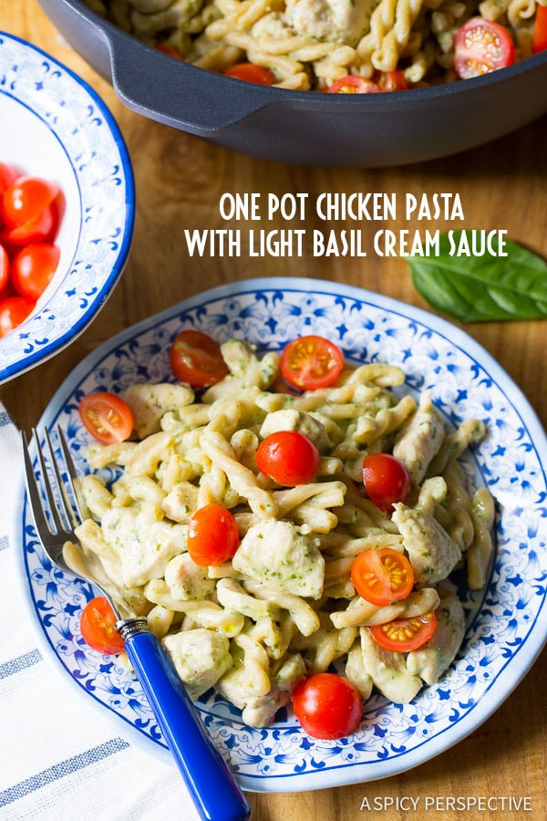 A True One Pot Chicken Pasta with Light Basil Cream Sauce on ASpicyPerspective.com #healthy #dinner #onepot