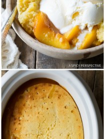 Slow Cooker Peach Cobbler on ASpicyPerspective.com #slowcooker #crockpot #cobbler