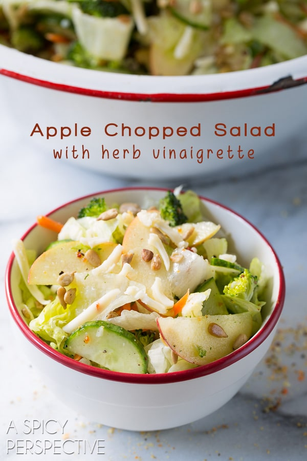 A Family Favorite - Apple Chopped Salad with Herb Vinaigrette on ASpicyPerspective.com #salad #healthy