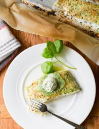 Almond Crusted Baked Halibut with Basil Butter on ASpicyPerspective.com #5ingredient #halibut