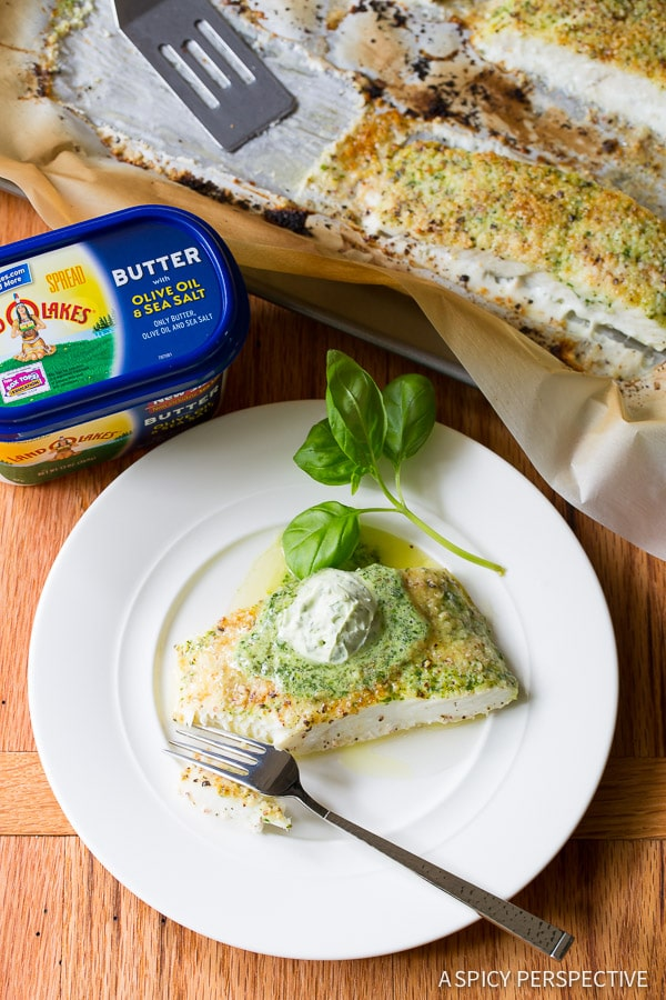 Fabulous Almond Crusted Baked Halibut with Basil Butter on ASpicyPerspective.com #5ingredient #halibut