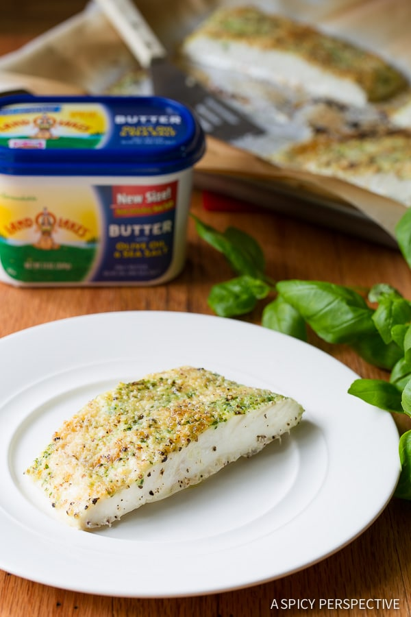 Easy Almond Crusted Baked Halibut with Basil Butter on ASpicyPerspective.com #5ingredient #halibut