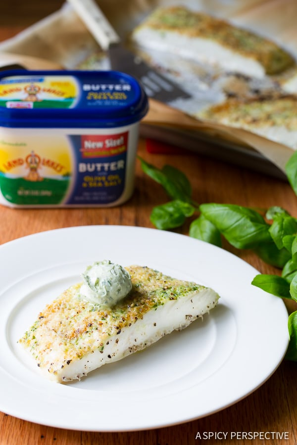 Light 5-Ingredient Almond Crusted Baked Halibut with Basil Butter on ASpicyPerspective.com #5ingredient #halibut