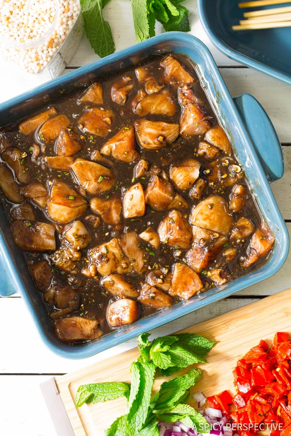 How to Make Balsamic Chicken Skewers with Israeli Couscous on ASpicyPerspective.com #FarmtoGrill #grill
