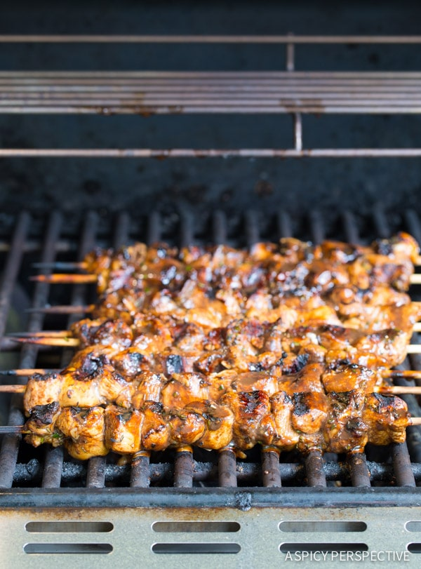 Grilling Balsamic Chicken Skewers with Israeli Couscous on ASpicyPerspective.com #FarmtoGrill #grill