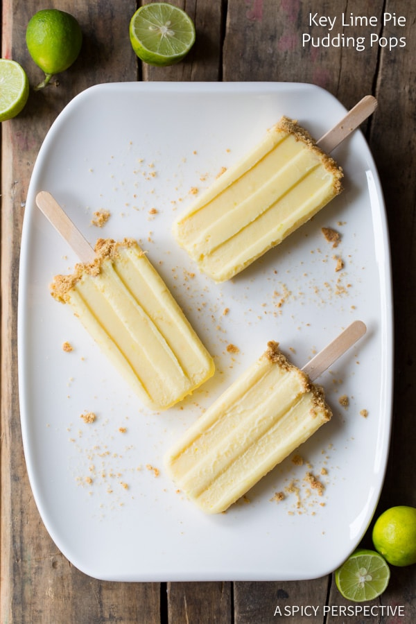 5-Ingredient Key Lime Pudding Pops on ASpicyPerspective.com #frozen #puddingpops #keylimepie