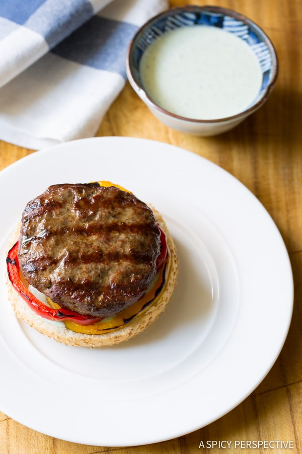 Must-Make LAMB BURGERS with Tabbouleh and Grilled Peppers on ASpicyPerspective.com #burgers #lamb #grilled