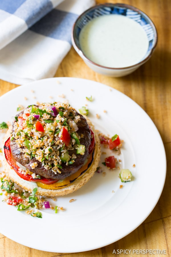 The Best LAMB BURGERS with Tabbouleh and Grilled Peppers on ASpicyPerspective.com #burgers #lamb #grilled