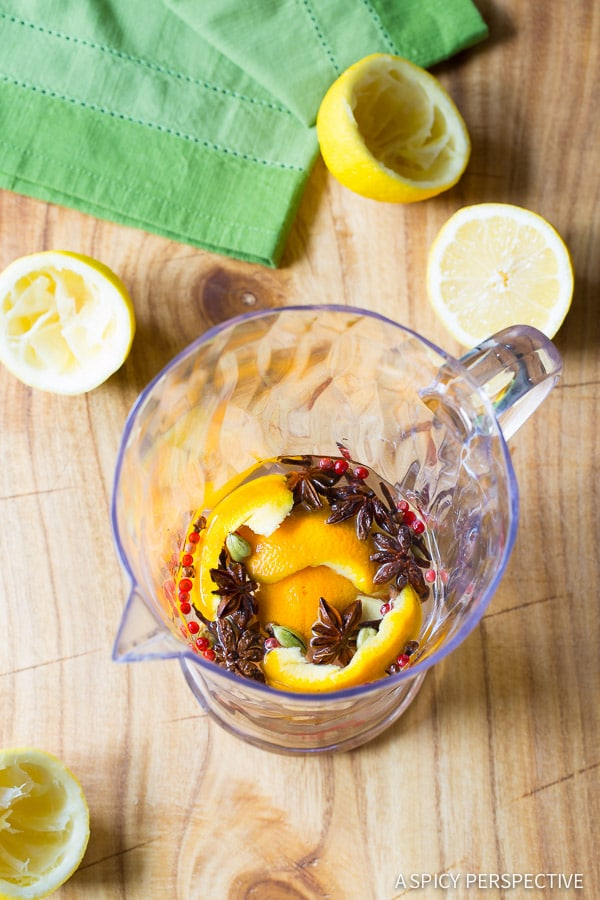 Making Mulled Lemonade Recipe on ASpicyPerspective.com Great for kids, and for cocktail mixing! #summer #lemonade