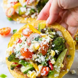 Roasted Vegetable Tostadas Recipe on ASpicyPerspective.com #mexican #vegetarian #healthy