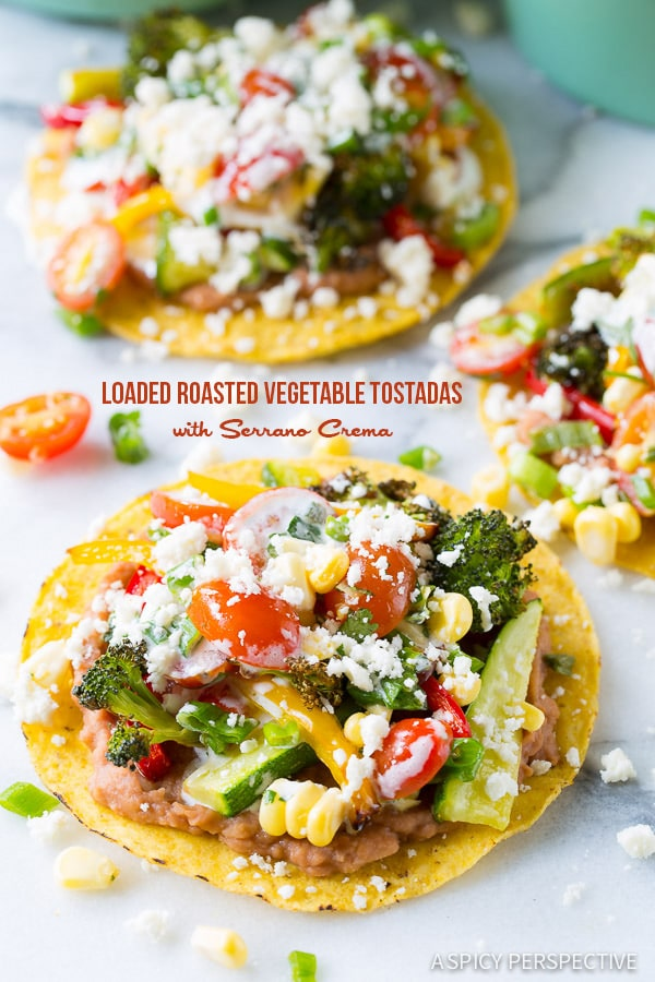 Healthy Roasted Vegetable Tostadas Recipe on ASpicyPerspective.com #mexican #vegetarian #healthy