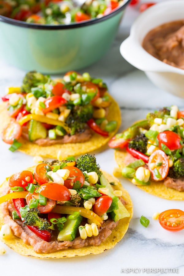 Colorful Roasted Vegetable Tostadas Recipe on ASpicyPerspective.com # ...