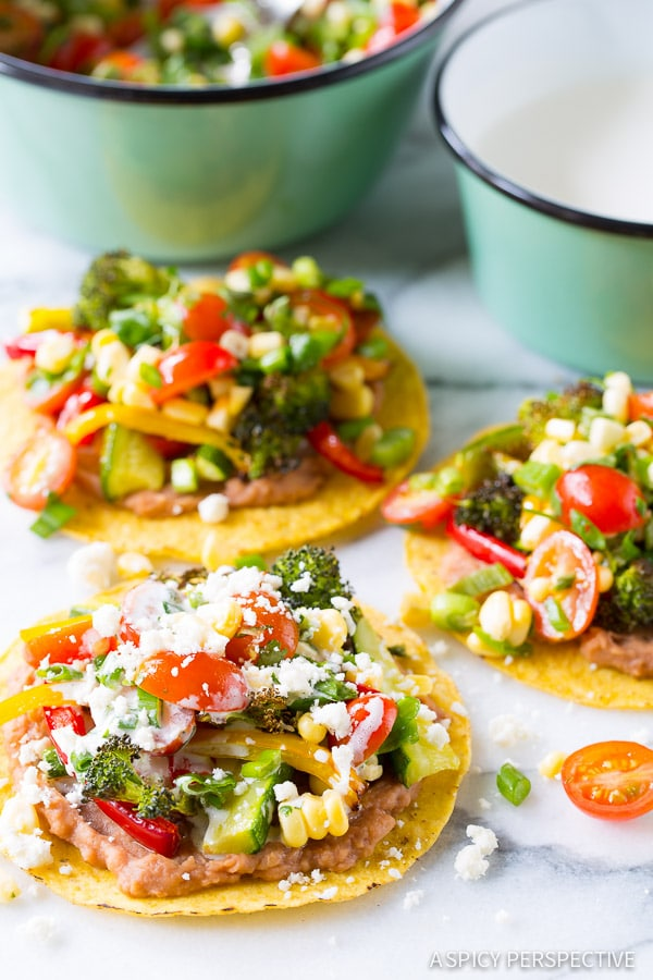 Light and Healthy Roasted Vegetable Tostadas Recipe on ASpicyPerspective.com #mexican #vegetarian #healthy