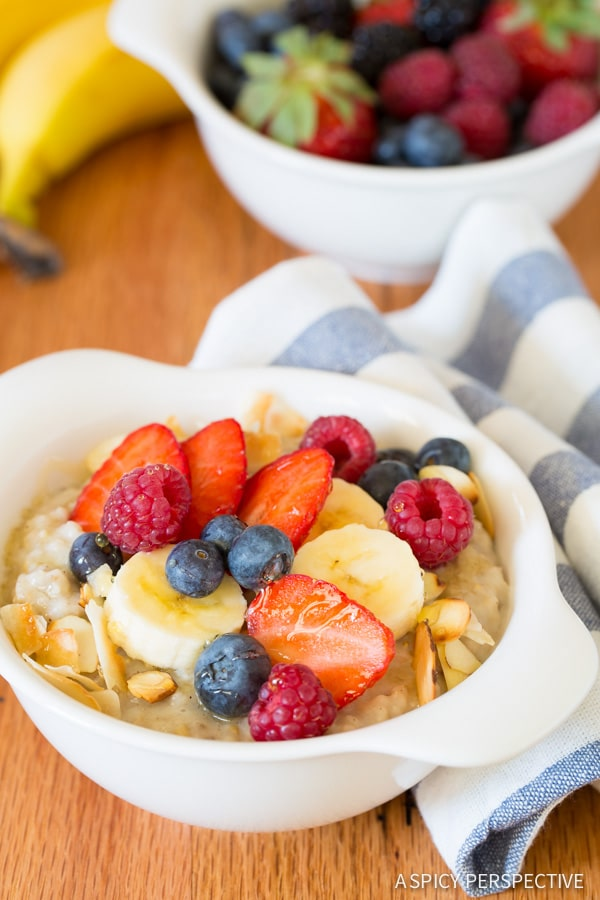 Creamy Dairy Free Slow Cooker Overnight Oatmeal made with wholesome Steel Cut Oats! #healthy #slowcooker #crockpot #dairyfree #ILoveSilkSoy