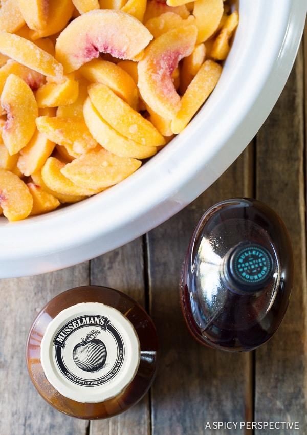 Making Slow Cooker Peach Cobbler on ASpicyPerspective.com #slowcooker #crockpot #cobbler