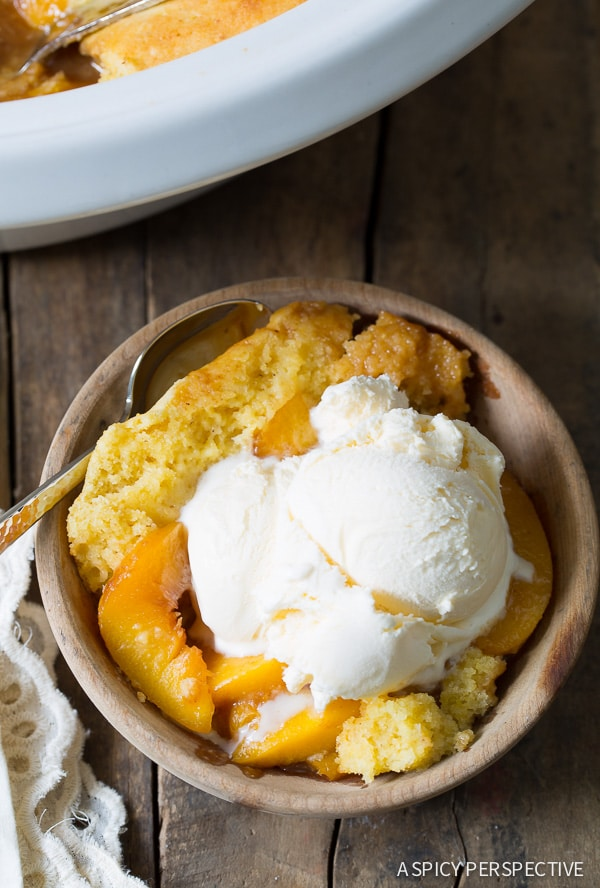 Slow Cooker Peach Cobbler Recipe Video A Spicy Perspective
