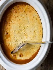Easy to Make Slow Cooker Peach Cobbler on ASpicyPerspective.com #slowcooker #crockpot #cobbler