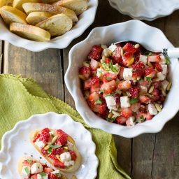 Fresh Strawberry Bruschetta on ASpicyPerspective.com #summer #party #bruschetta