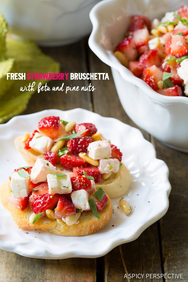 Amazing Fresh Strawberry Bruschetta on ASpicyPerspective.com #summer #party #bruschetta