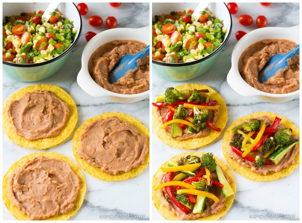 How to Make Roasted Vegetable Tostadas Recipe on ASpicyPerspective.com #mexican #vegetarian #healthy