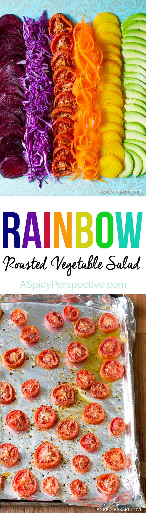RAINBOW Roasted Vegetable Salad with Fresh and Sweet Roasted Veggies topped with Pesto Vinaigrette!