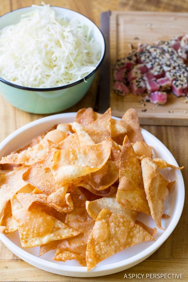 Best Wonton Nachos with Wasabi Mayo and Fresh Mango Pico de Gallo on ASpicyPerspective.com #nachos