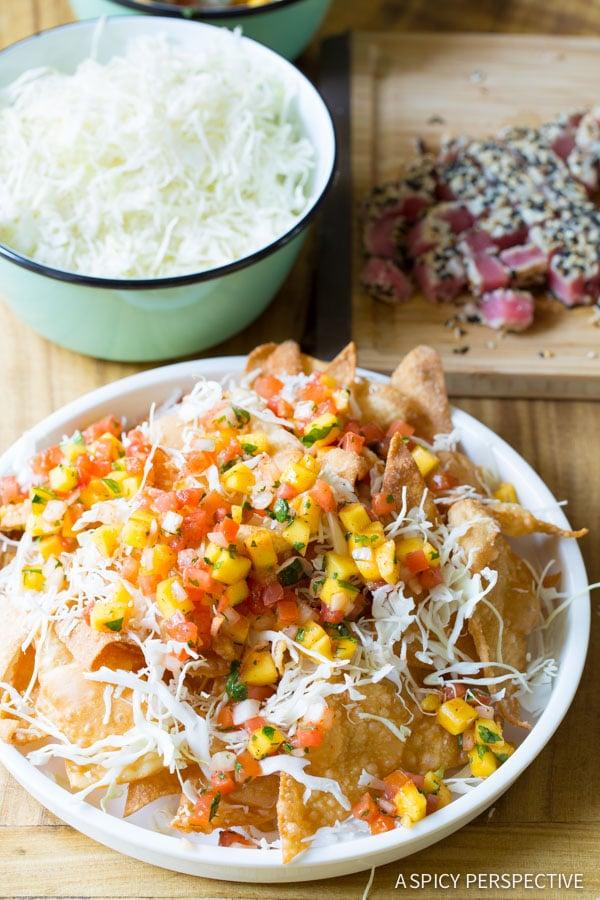 Amazing Nachos with Wasabi Mayo and Fresh Mango Pico de Gallo on ASpicyPerspective.com #nachos