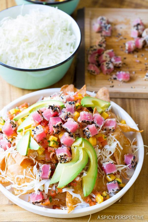 Must-Make Ahi Wonton Nachos with Wasabi Mayo and Fresh Mango Pico de Gallo on ASpicyPerspective.com #nachos
