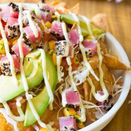 Ahi Wonton Nachos with Wasabi Mayo and Fresh Mango Pico de Gallo on ASpicyPerspective.com #nachos
