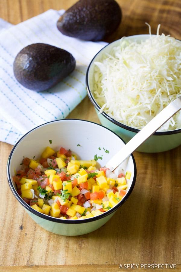 Salsa - Ahi Wonton Nachos with Wasabi Mayo and Fresh Mango Pico de Gallo on ASpicyPerspective.com #nachos