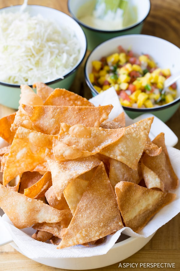 Wonton Nachos with Wasabi Mayo and Fresh Mango Pico de Gallo on ASpicyPerspective.com #nachos